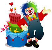 Clown with birthday cake Royalty Free Stock Image
