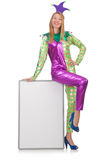 Clown with blank board Stock Photography