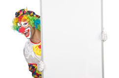 Clown with blank board. On white Royalty Free Stock Photos