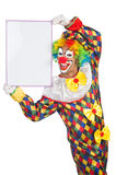 Clown with blank board Royalty Free Stock Photography