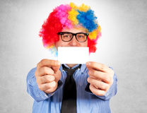 Clown with blank card Royalty Free Stock Photos