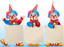 Clown with blank paper in different moods Stock Photo