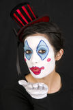 Fun Female Clown Blowing Happy Kisses Royalty Free Stock Photos