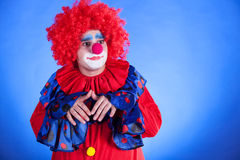 Clown on blue backgound Royalty Free Stock Photography