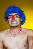 Clown in a blue wig Royalty Free Stock Photo