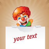 Clown and board. Happy clown and white board Royalty Free Stock Photo