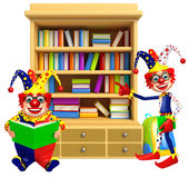 Clown with Book shelves & book. 3d rendered illustration of Clown with Book shelves Stock Images