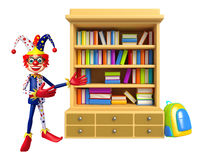 Clown with Book  shelves Royalty Free Stock Photos