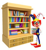 Clown with Book Shelves Stock Photography