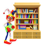 Clown with Book Shelves Stock Image