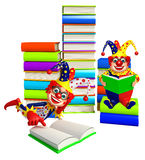 Clown with Book stack & book. 3d rendered illustration of Clown with Book stack & book Stock Photo