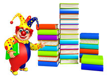 Clown with Book stack & book. 3d rendered illustration of Clown with Book stack Royalty Free Stock Photography