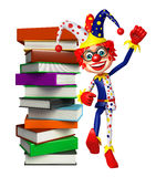 Clown with Book stack. 3d rendered illustration of Clown with Book stack Stock Image
