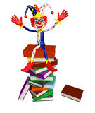 Clown with Book stack. 3d rendered illustration of Clown with Book stack Stock Photos