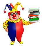 Clown with Book stack. 3d rendered illustration of Clown with Book stack Royalty Free Stock Photos