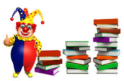 Clown with Book stack. 3d rendered illustration of Clown with Book stack Stock Photo