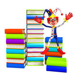 Clown with Book stack. 3d rendered illustration of Clown with Book stack Royalty Free Stock Image
