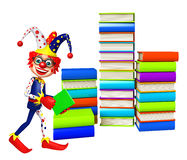Clown with Book stack. 3d rendered illustration of Clown with Book stack Stock Photography