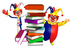 Clown with Book stack. 3d rendered illustration of Clown with Book stack Stock Images