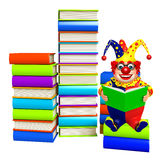 Clown with Book stack. 3d rendered illustration of Clown with Book stack Royalty Free Stock Photo