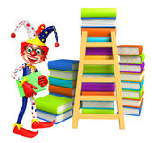 Clown with Book stack and Ladder. 3d rendered illustration of Clown with Book stack and Ladder Royalty Free Stock Photo