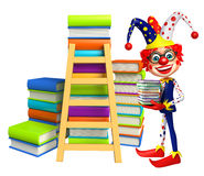 Clown with Book stack and Ladder. 3d rendered illustration of Clown with Book stack and Ladder Stock Photos
