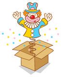 Clown from box. Illustration of clown jumps out of the box Royalty Free Stock Photography