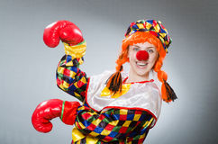 The clown with boxing gloves isolated on white Royalty Free Stock Photo