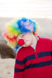 Clown boy. Closeup picture of nadsome young clown boy Stock Photography