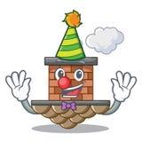 Clown brick chimney next the cartoon roof. Vector illustration stock illustration