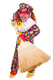 Clown with broom Stock Photo