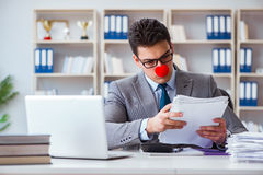 The clown businessman in the office Royalty Free Stock Photography