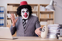 The clown businessman working in the office Royalty Free Stock Photos