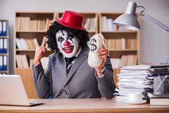 The clown businessman working in the office Royalty Free Stock Image