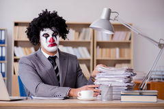 The clown businessman working in the office Royalty Free Stock Images