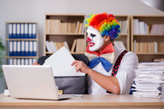 The clown businessman working in the office Stock Photography