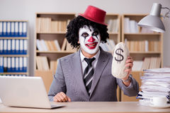 The clown businessman working in the office Royalty Free Stock Photography