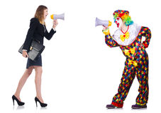The clown and businesswoman with loudspeakers Stock Photo