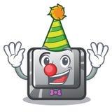 Clown button C installed on cartoon computer. Vector illustration royalty free illustration