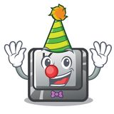 Clown button K attached to cartoon keyboard. Vector illustration royalty free illustration