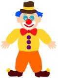 Clown in camicia gialla, cappello marrone con la banda gialla, pantaloni arancio, con gli stivali marroni con i fiocchetti illustrazione di stock