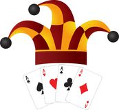 Clown cap and four aces Stock Images