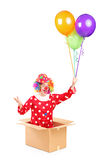 A clown in a cardboard box holding balloons Royalty Free Stock Photo