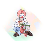 Clown on carnival. With colourful backround Stock Images
