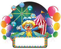 A clown in the carnival with an empty signage. Illustration of a clown in the carnival with an empty signage on a white background Royalty Free Stock Images