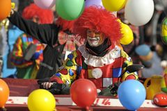 Clown at carnival parade Royalty Free Stock Image
