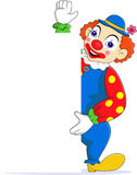 Clown cartoon with blank sign Royalty Free Stock Images