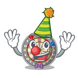 Clown cartoon dartcoard next to wooden table. Vector illustration royalty free illustration