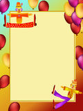 Clown cartoon illustration. Colorful clown and balloon cartoon illustration frame Stock Illustration