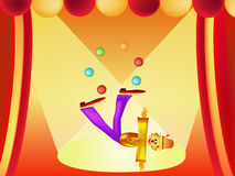 Clown cartoon illustration. Colorful clown and balloon cartoon illustration frame Royalty Free Illustration